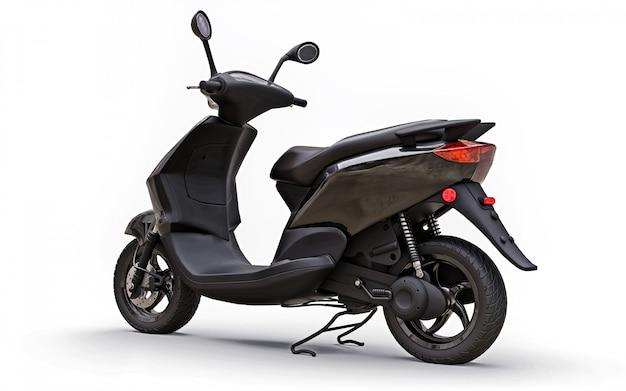 Modernes städtisches schwarzes moped auf einem weißen hintergrund. abbildung 3d.