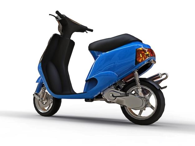 Modernes städtisches schwarzes und blaues moped auf einer weißen oberfläche