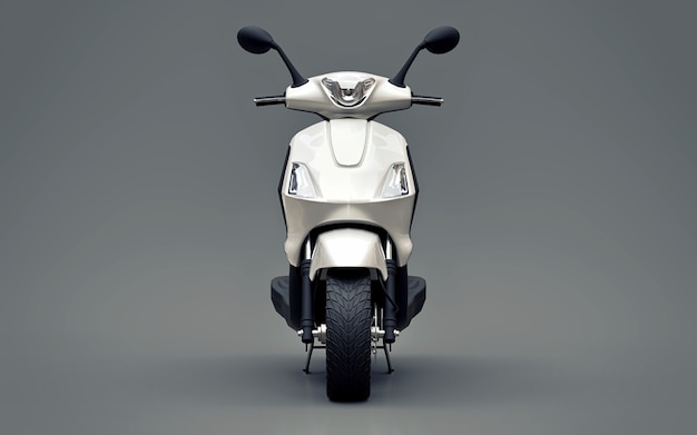 Modernes städtisches weißes moped auf einer grauen oberfläche