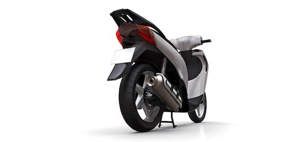 Modernes städtisches weißes moped auf einer weißen oberfläche