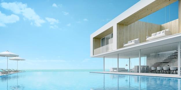 Modernes strandhaus mit pool mit meerblick.