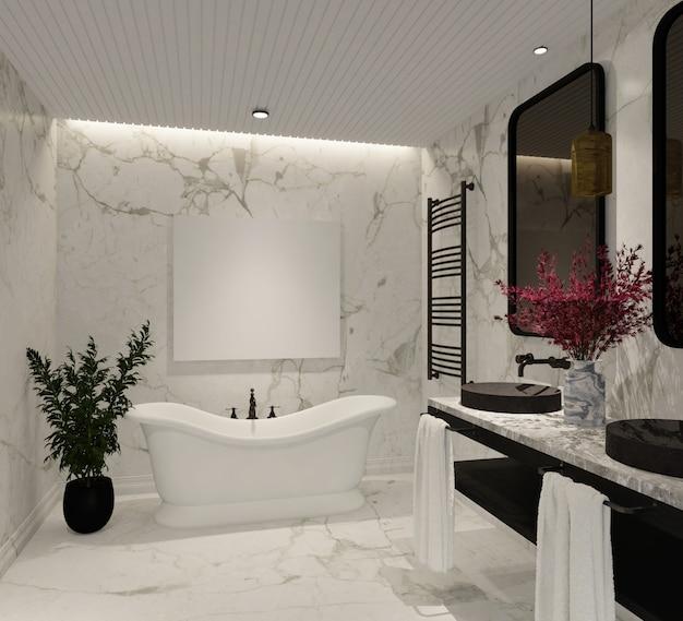 Modernes und luxuriöses badezimmerdesign mit marmorwand und badewanne