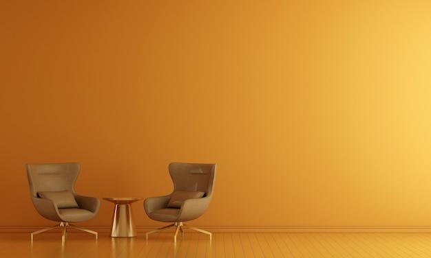 Modernes und wohnzimmerinterieur und möbel verspotten und gelber wandtexturhintergrund
