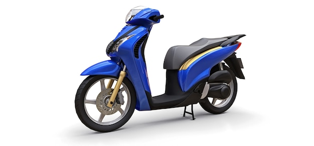 Modernes urbanes blaues moped auf weißem hintergrund. 3d-darstellung.