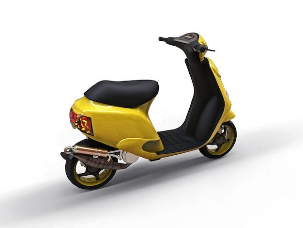Modernes urbanes gelbes moped auf weißem hintergrund. 3d-darstellung.