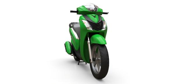 Modernes urbanes grünes moped auf weißem hintergrund. 3d-darstellung.