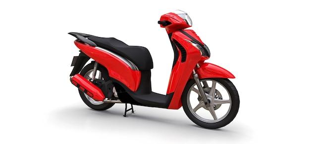 Modernes urbanes rotes moped auf weißem hintergrund. 3d-darstellung.