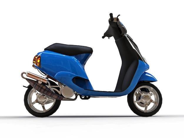 Modernes urbanes schwarzes und blaues moped auf weißem hintergrund. 3d-darstellung.