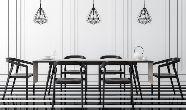 Modernes vintage-esszimmer mit schwarz-weiß-3d-rendering es gibt einen schwarz-weiß-boden