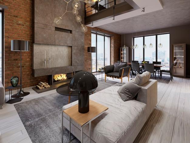 Modernes vintage-loft-apartment-wohnzimmer. 3d-rendering