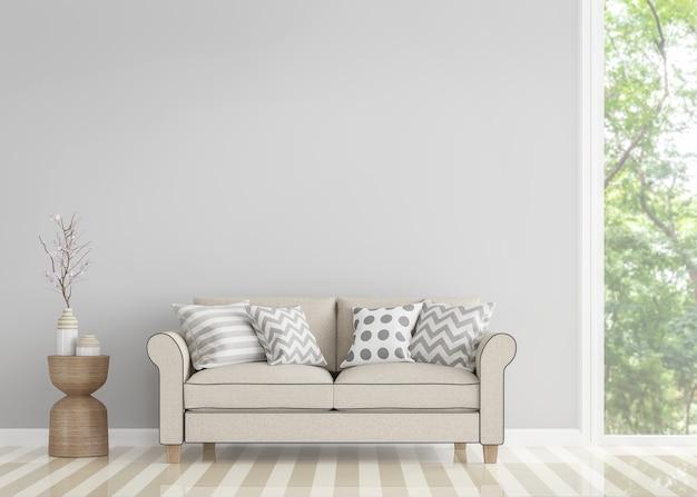 Modernes vintage-wohnzimmer 3d-rendering gibt es eine leere graue wand, die mit beigefarbenem sofa dekoriert ist