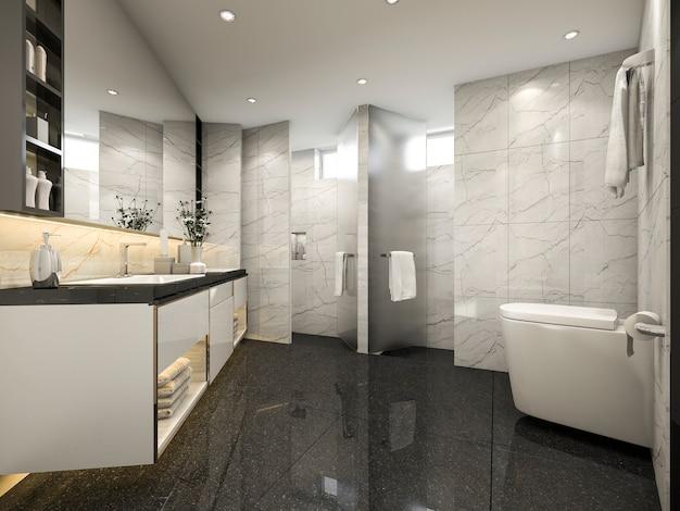 Modernes weinlesecremebadezimmer der wiedergabe 3d mit luxusfliesendekor