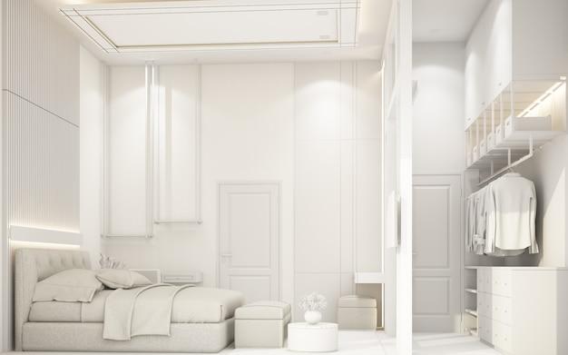 Modernes weißes schlafzimmer mit möbeln in der darstellung des stadthauses 3d