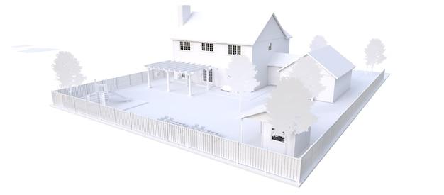 Modernes weißes schönes haus. 3d-darstellung