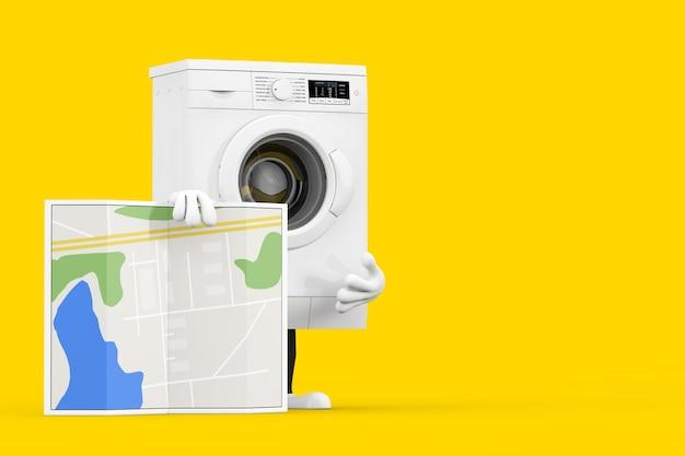 Modernes weißes waschmaschinen-charakter-maskottchen mit abstrakter stadtplan-karte auf einem gelben hintergrund. 3d-rendering