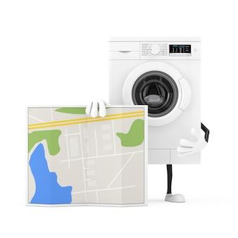 Modernes weißes waschmaschinen-charakter-maskottchen mit abstrakter stadtplan-karte auf einem weißen hintergrund. 3d-rendering