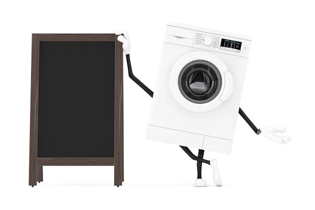 Modernes weißes waschmaschinen-charakter-maskottchen mit leerer hölzerner menü-tafeln-im freienanzeige auf einem weißen hintergrund. 3d-rendering