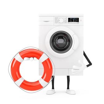 Modernes weißes waschmaschinen-charakter-maskottchen mit rettungsring auf einem weißen hintergrund. 3d-rendering