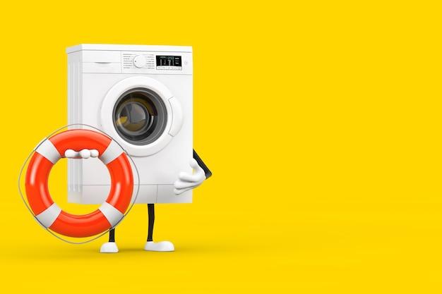 Modernes weißes waschmaschinen-charakter-maskottchen mit rettungsring auf gelbem hintergrund. 3d-rendering