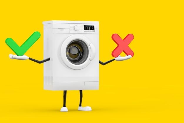 Modernes weißes waschmaschinen-charakter-maskottchen mit rotem kreuz und grünem häkchen, bestätigen oder verweigern, ja oder nein-symbol auf gelbem hintergrund. 3d-rendering