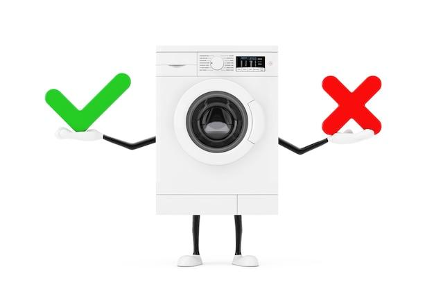 Modernes weißes waschmaschinen-charakter-maskottchen mit rotem kreuz und grünem häkchen, bestätigen oder verweigern, ja oder nein symbolzeichen auf weißem hintergrund. 3d-rendering