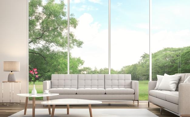 Modernes weißes wohnzimmer 3d render großes fenster mit blick auf den großen garten