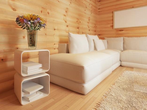 Modernes wohnen in einem blockhaus mit großem weißen ecksofa
