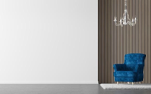 Modernes wohnzimmer 3d rende gibt es wand mit vertikalem holzmuster und weißer wand zu dekorieren