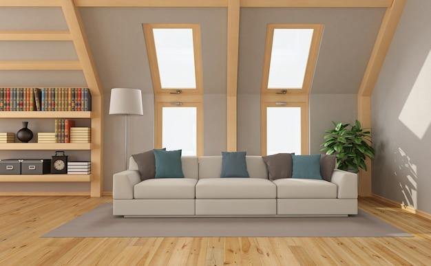 Modernes wohnzimmer auf dem dachboden mit sofa und bücherregal