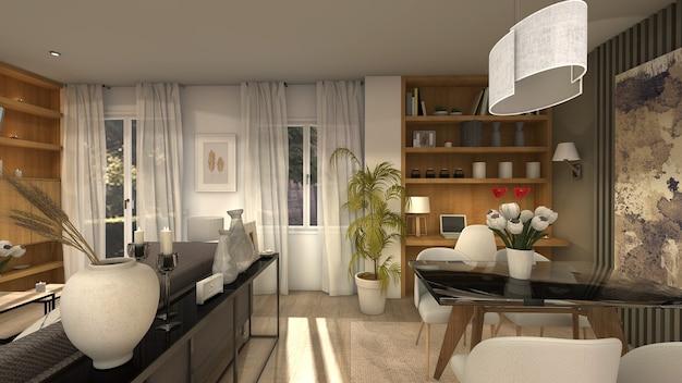Modernes wohnzimmer im industriestil