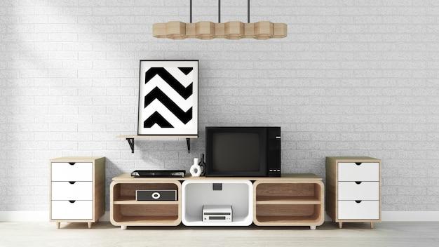 Modernes wohnzimmer im zen-stil von smart tv mockup. 3d-rendering