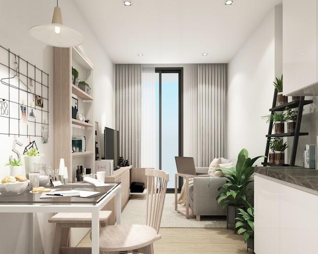 Modernes wohnzimmer in der wohnanlage mit modernem innen-3d-rendering des zeitgenössischen stils