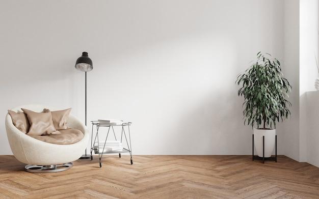 Modernes wohnzimmer-innendesign aus hellem holz, einem bequemen stuhl und einer pflanze