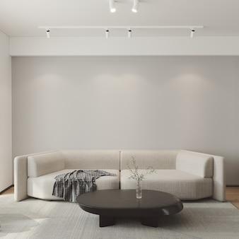 Modernes wohnzimmer mit beigem sofa 3d-rendering