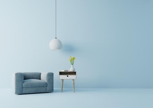 Modernes wohnzimmer mit blauem lehnsessel haben kabinett und lampe auf hölzernem bodenbelag und blauer wand, wiedergabe 3d