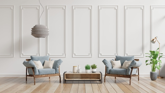 Modernes wohnzimmer mit blauen lehnsessel- und holzregalen auf holzfußboden und weißer wand.