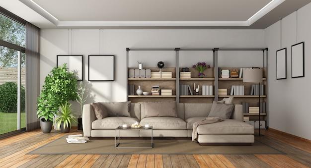 Modernes wohnzimmer mit bücherregal und sofa