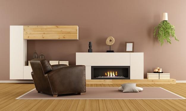 Modernes wohnzimmer mit dekorativem kamin