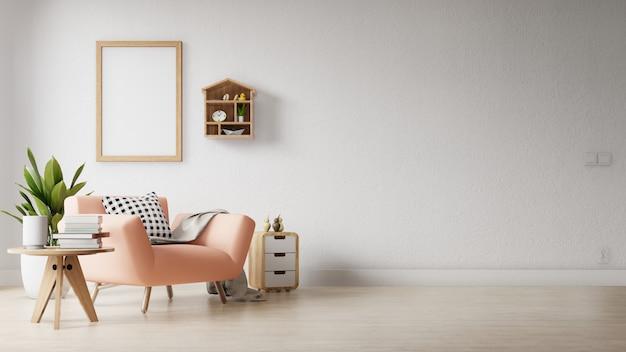 Modernes wohnzimmer mit einem leeren plakat an der wand