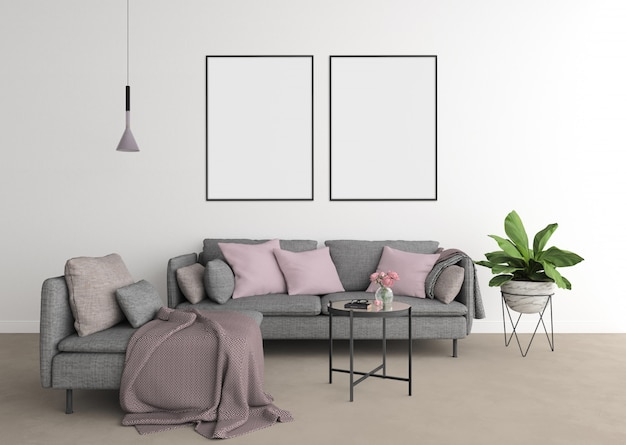 Modernes wohnzimmer mit grauem sofa und rahmen