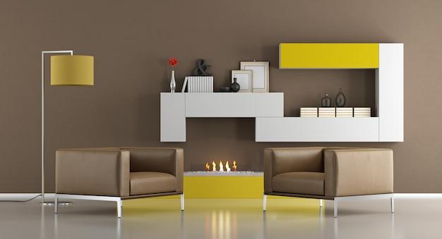 Modernes wohnzimmer mit kamin. 3d-rendering