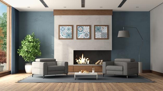 Modernes wohnzimmer mit kamin und zwei modernen sesseln