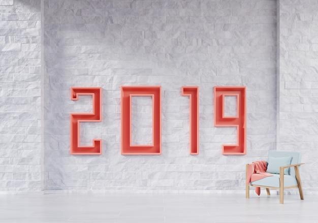 Modernes wohnzimmer mit lehnsessel und bildungskonzept des neuen jahres 2019.