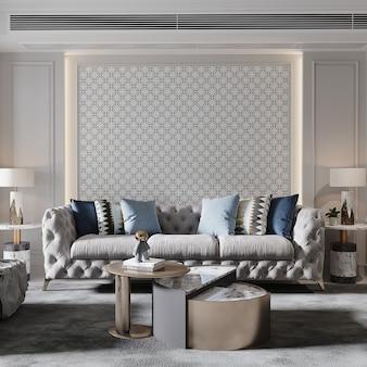 Modernes wohnzimmer mit möbeln 3d render