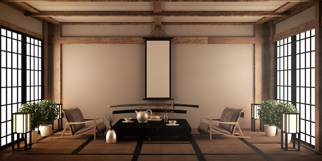 Modernes wohnzimmer mit schwarzem niedrigen tisch, lampe, vase und dekor im japanischen stil. 3d-rendering