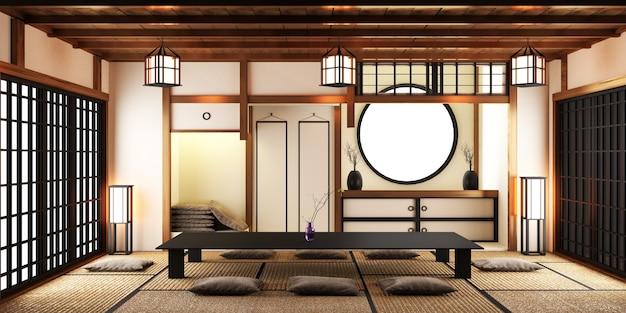 Modernes wohnzimmer mit schwarzem niedrigen tisch