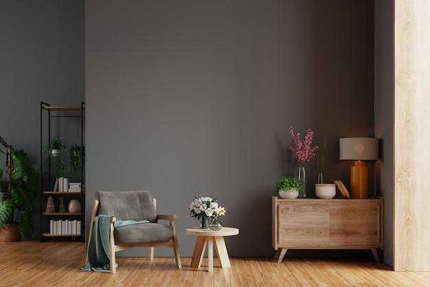 Modernes wohnzimmer mit sessel, tisch, blumen und pflanzen an schwarzer wand