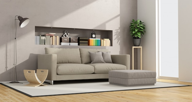 Modernes wohnzimmer mit sofa, fußschemel und nische mit büchern