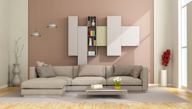 Modernes wohnzimmer mit sofa und bücherregal an der wand