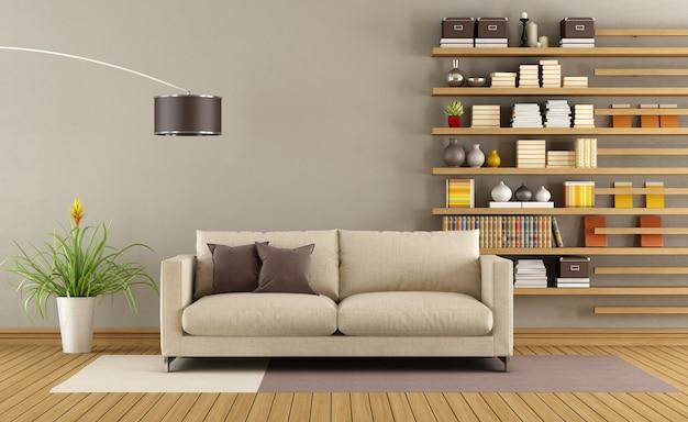 Modernes wohnzimmer mit sofa und minimalistischem bücherregal